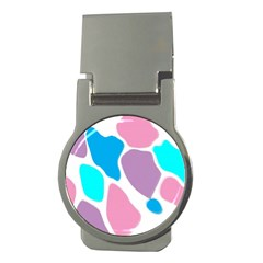 Baby Pink Girl Party Pattern Colorful Background Art Digital Money Clips (round)