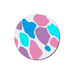 Baby Pink Girl Party Pattern Colorful Background Art Digital Rubber Round Coaster (4 pack)