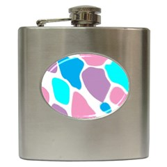 Baby Pink Girl Party Pattern Colorful Background Art Digital Hip Flask (6 oz)