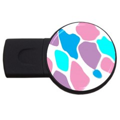 Baby Pink Girl Party Pattern Colorful Background Art Digital USB Flash Drive Round (2 GB)