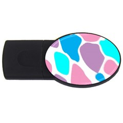 Baby Pink Girl Party Pattern Colorful Background Art Digital USB Flash Drive Oval (1 GB)
