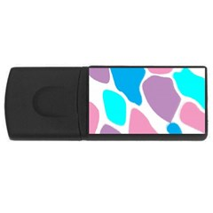 Baby Pink Girl Party Pattern Colorful Background Art Digital USB Flash Drive Rectangular (2 GB)