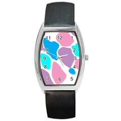 Baby Pink Girl Party Pattern Colorful Background Art Digital Barrel Style Metal Watch