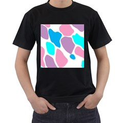 Baby Pink Girl Party Pattern Colorful Background Art Digital Men s T-Shirt (Black) (Two Sided)