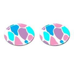 Baby Pink Girl Party Pattern Colorful Background Art Digital Cufflinks (oval)