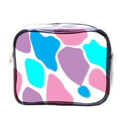 Baby Pink Girl Party Pattern Colorful Background Art Digital Mini Toiletries Bags