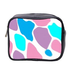 Baby Pink Girl Party Pattern Colorful Background Art Digital Mini Toiletries Bag 2-Side