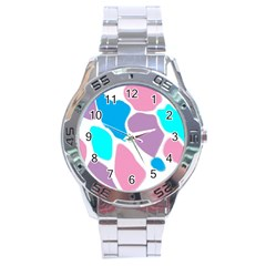 Baby Pink Girl Party Pattern Colorful Background Art Digital Stainless Steel Analogue Watch