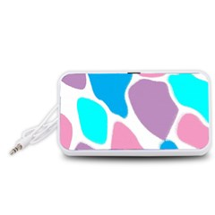 Baby Pink Girl Party Pattern Colorful Background Art Digital Portable Speaker (White)