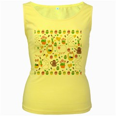 Cute Easter pattern Women s Yellow Tank Top