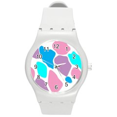 Baby Pink Girl Party Pattern Colorful Background Art Digital Round Plastic Sport Watch (m)