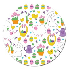 Cute Easter pattern Magnet 5  (Round)