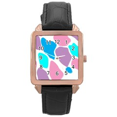 Baby Pink Girl Party Pattern Colorful Background Art Digital Rose Gold Leather Watch