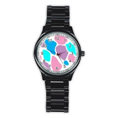 Baby Pink Girl Party Pattern Colorful Background Art Digital Stainless Steel Round Watch