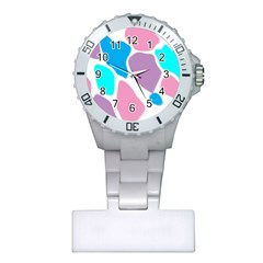Baby Pink Girl Party Pattern Colorful Background Art Digital Plastic Nurses Watch