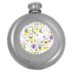 Cute Easter pattern Round Hip Flask (5 oz)