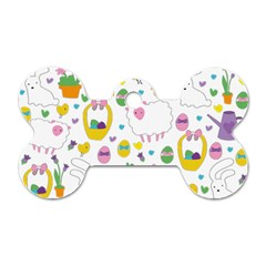Cute Easter pattern Dog Tag Bone (Two Sides)