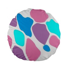 Baby Pink Girl Party Pattern Colorful Background Art Digital Standard 15  Premium Flano Round Cushions