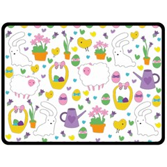 Cute Easter pattern Double Sided Fleece Blanket (Large)