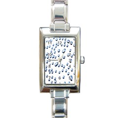 Water Drops On White Background Rectangle Italian Charm Watch