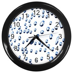Water Drops On White Background Wall Clocks (black)