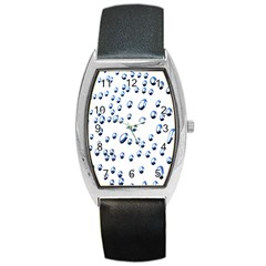 Water Drops On White Background Barrel Style Metal Watch
