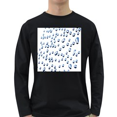 Water Drops On White Background Long Sleeve Dark T Shirts