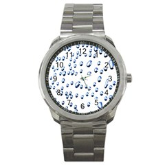 Water Drops On White Background Sport Metal Watch
