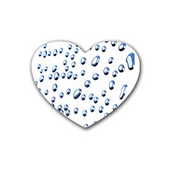 Water Drops On White Background Rubber Coaster (heart)