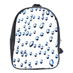 Water Drops On White Background School Bags(Large)