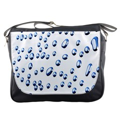Water Drops On White Background Messenger Bags