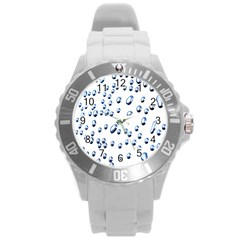 Water Drops On White Background Round Plastic Sport Watch (l)