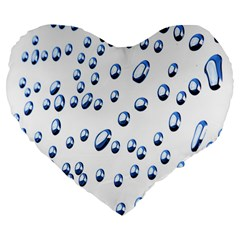 Water Drops On White Background Large 19  Premium Flano Heart Shape Cushions
