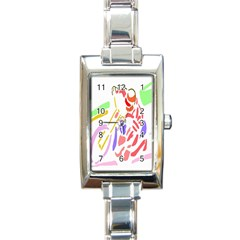 Motorcycle Racing The Slip Motorcycle Rectangle Italian Charm Watch