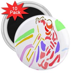 Motorcycle Racing The Slip Motorcycle 3  Magnets (10 Pack)