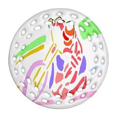 Motorcycle Racing The Slip Motorcycle Round Filigree Ornament (Two Sides)
