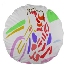 Motorcycle Racing The Slip Motorcycle Large 18  Premium Round Cushions