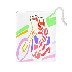 Motorcycle Racing The Slip Motorcycle Drawstring Pouches (Large)