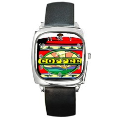 Coffee Tin A Classic Illustration Square Metal Watch