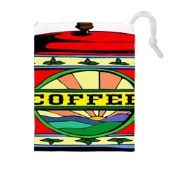 Coffee Tin A Classic Illustration Drawstring Pouches (Extra Large)