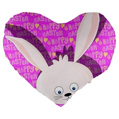 Easter bunny  Large 19  Premium Flano Heart Shape Cushions