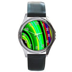 Multi Colorful Radiant Background Round Metal Watch