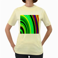 Multi Colorful Radiant Background Women s Yellow T Shirt