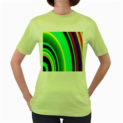 Multi Colorful Radiant Background Women s Green T-Shirt