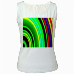 Multi Colorful Radiant Background Women s White Tank Top