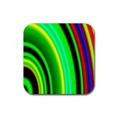 Multi Colorful Radiant Background Rubber Square Coaster (4 Pack)