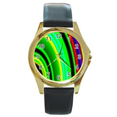 Multi Colorful Radiant Background Round Gold Metal Watch