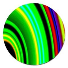 Multi Colorful Radiant Background Magnet 5  (Round)