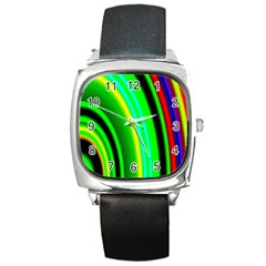 Multi Colorful Radiant Background Square Metal Watch