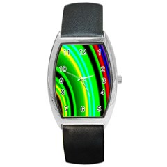 Multi Colorful Radiant Background Barrel Style Metal Watch